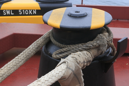ship mooring device warning coloration on a cargo ship