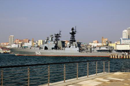 bod: Russian Navy frigateMarshal Shaposhnikov at the pier in the port of Vladivostok April 26, 2015