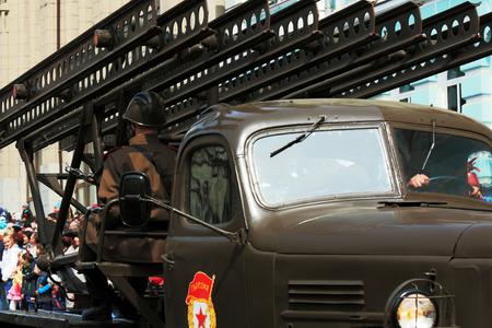 armaments: MLRs of World War II Katusha at the victory parade in Vladivostok Russia