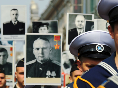 regiment: Immortal Regiment in the ranks on the day of victory in Vladivostok Russia