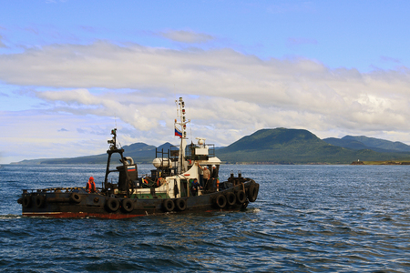 sakhalin: the old sea tug for towing on Sakhalin island Stock Photo
