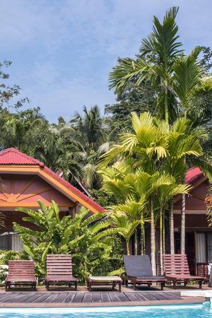 de ligbedden bij het zwembad met palmbomen in de tropen.