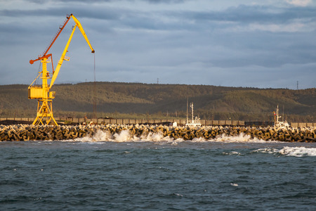 sakhalin: coal pier in the port of Kholmsk on Sakhalin