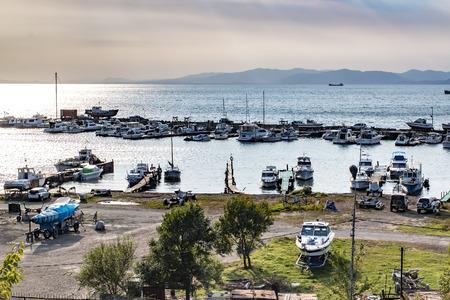 pleasure craft: Parking boats in the Russian port of Vladivostok Stock Photo