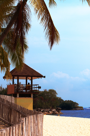 to observer: viewing tower with a lifeguard on the beach Singapore Stock Photo