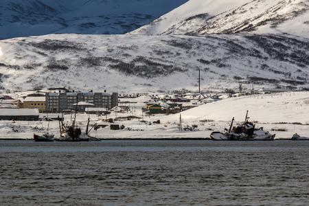kuril: city of Severo Kurilsk on the Russian island of Paramushir Stock Photo