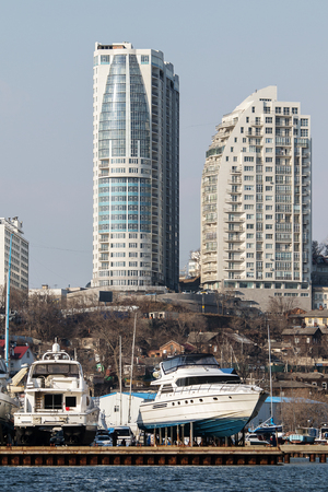 slipway: yacht at the pier in Vladivostok awaiting the opening of navigation