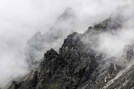 severe cliff in the fog