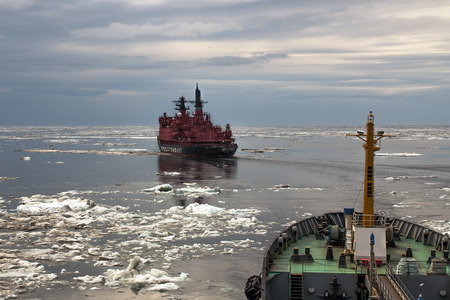 The Northern sea route for the atomic icebreaker Stock Photo