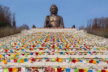 stairs to the largest sealed Buddha statue in China Foto de archivo - 94852141