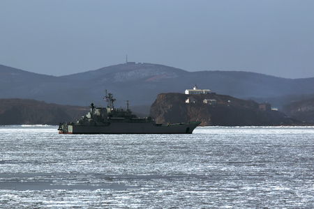 military amphibious ship to Russia near the island of Vladivostok