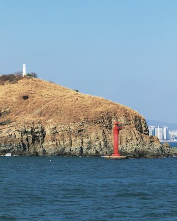 two lighthouses on an island in Korea Foto de archivo - 97547729