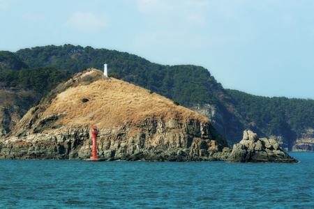 two lighthouses on an island in Korea Foto de archivo - 97565297