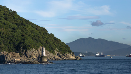 old lighthouse on the rocks in a marine Bay of the Republic of Korea
