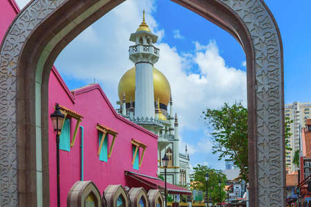 Masjid Sultan mosque and murals on Arab Street in the Malay Heritage District, Singapore