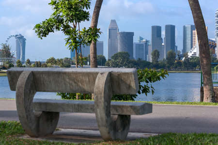 stone bench in the walking area of the kalang river embankment in Singapore