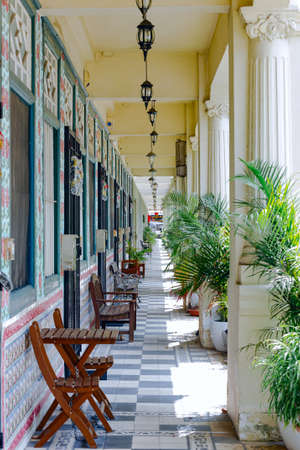 terrace along a residential building in the historic quarter of Singapore little India Editorial