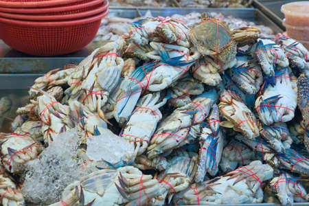 fresh crabs with bound claws are piled on the counter of the fish market