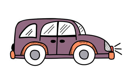 Vector cute purple car in doodle style on a white background, childrens illustration