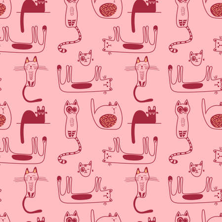 Vector seamless pattern with cute doodle-style cats in monochrome on a pink background.