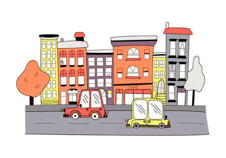 Vector childrens illustration, a small color town in doodle style, cute houses with cars on a road, cafes, and trees on a white background.