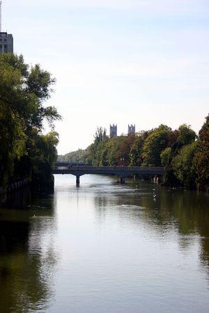 bridge view over isar in munich photo