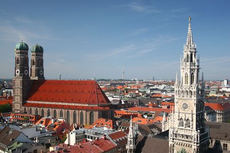 frauenkirche: frauenkirche and city-hall in munich Stock Photo