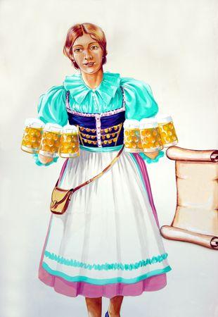 draught: illustration of oktoberfest waitress