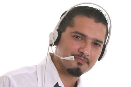 assistent: call canter operator Stock Photo