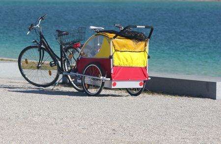 bike and children cab on the beach Stock Photo - 812178