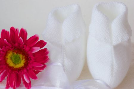 bedspread: cute  shoes and flower  Stock Photo