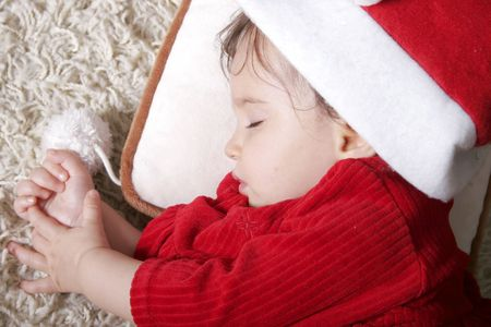 cute baby with santa hat sleeping Stock Photo - 4085697