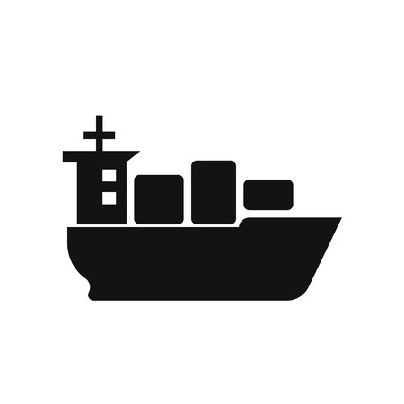 Sea ship with containers icon vector 일러스트