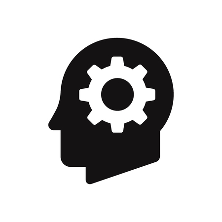 Cog in head vector icon Stockfoto - 111333785