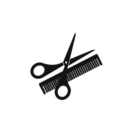 Scissors and comb vector icon