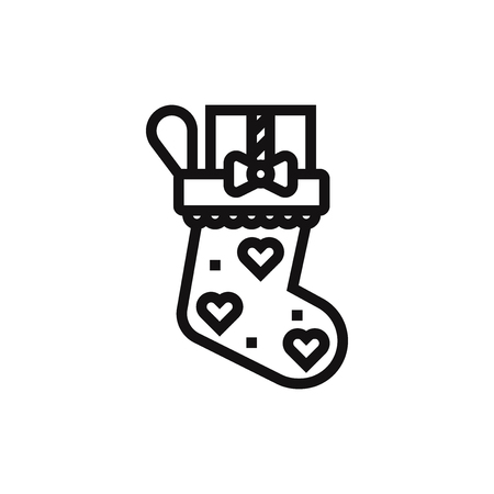 Christmas sock vector icon