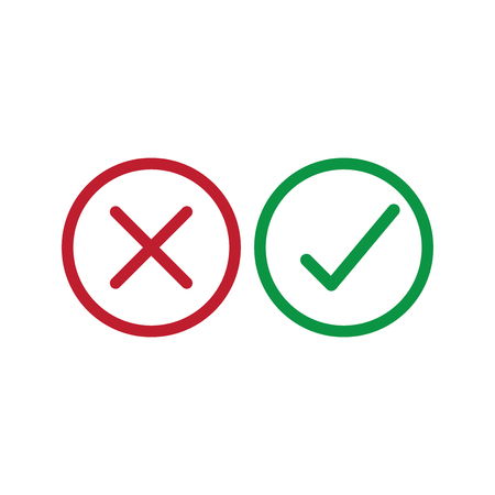 Checkmarks icon vector. Yes or no sign. True or false symbol.
