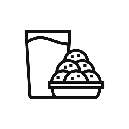Cookies and milk vector icon