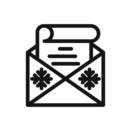 Christmas wish list in envelope icon