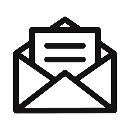 Opened envelope with letter icon vector Illustration