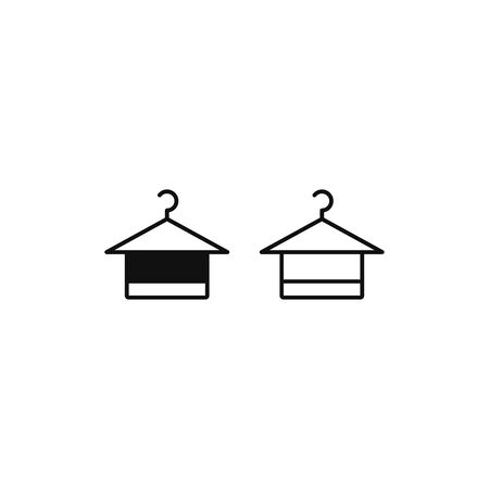 Towel on hanger icon vector. Clothes hanger sign