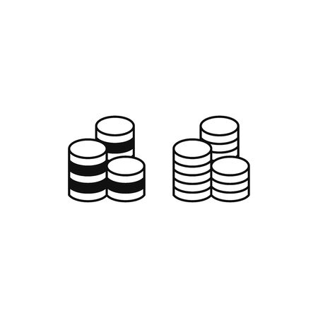 Coins stack icon vector. Coins sign
