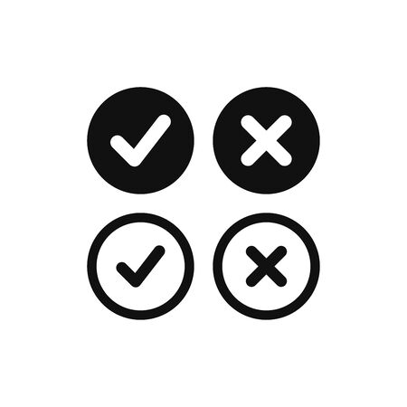 Check marks icon vector. True or False sign. Yes or No symbol