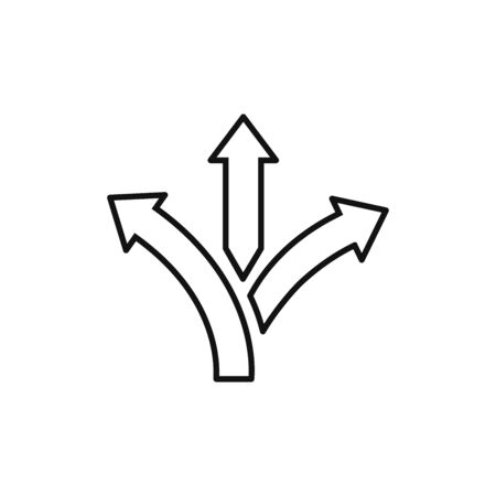Three-way direction arrow icon vector. Road direction sign
