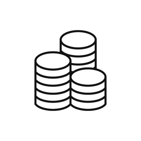 Coins icon vector. Coin stacks sign