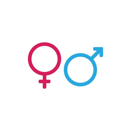 Male and Female symbols icon vector. Gender sign Vectores