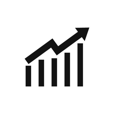 Growing graph icon vector. Growth sign
