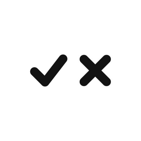 Checkmark and cancel mark icon vector. True or False sign. Yes or No symbol
