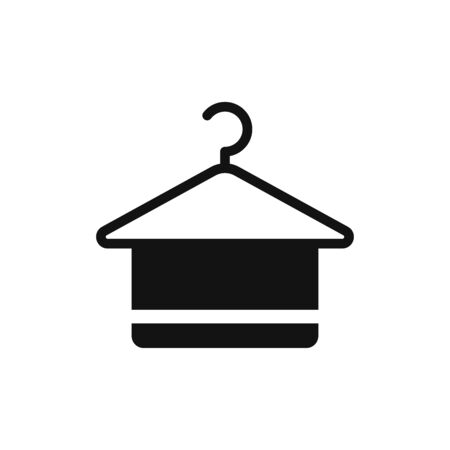 Hanger with towel icon vector. Clothes hanger sign Vectores
