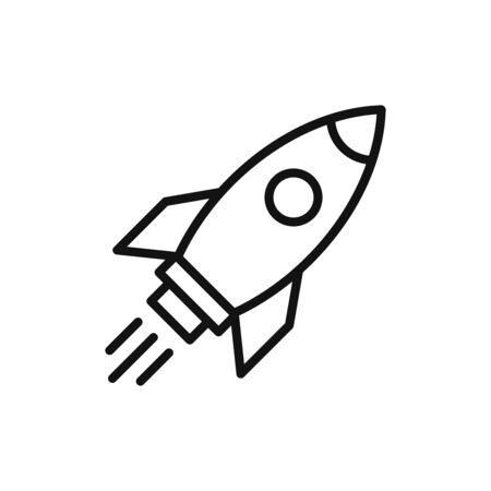 Rocket icon vector. Simple outline rocket sign